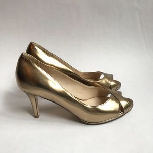 Cole Haan Lena Gold Open Toe Pump